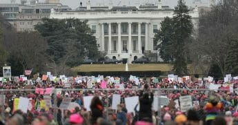 Demonstrators protest near the White House
