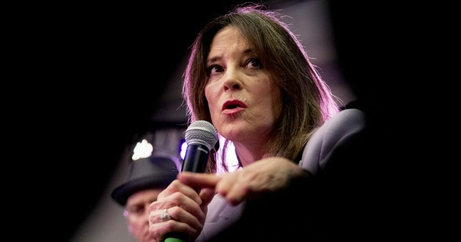 Democratic presidential candidate Marianne Williamson speaks at a the Faith, Politics and the Common Good Forum at Franklin Jr. High School in Des Moines, Iowa, on, Jan. 9, 2020.
