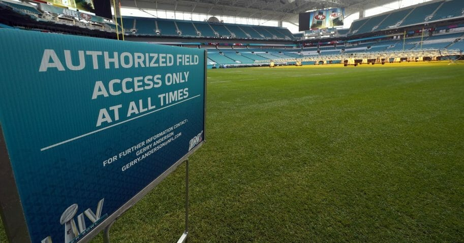 Hard Rock Stadium is shown during a tour for the media on Jan. 28, 2020, in Miami Gardens, Florida, in preparation for the NFL Super Bowl LIV football game.