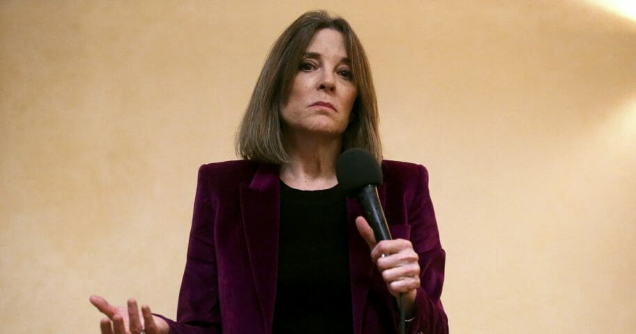 Presidential candidate Marianne Williamson speaks at a campaign stop at Body and Soul Wellness Center in Dubuque, Iowa, on Nov. 30, 2019.