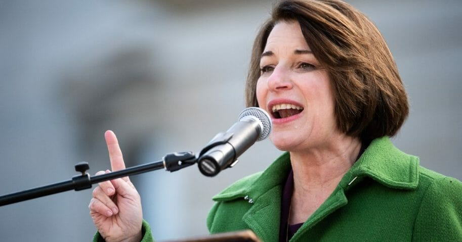 Democratic presidential candidate Sen. Amy Klobuchar (D-Minnesota) addresses the crowd during the King Day at the Dome rally on Jan. 20, 2020, in Columbia, South Carolina.