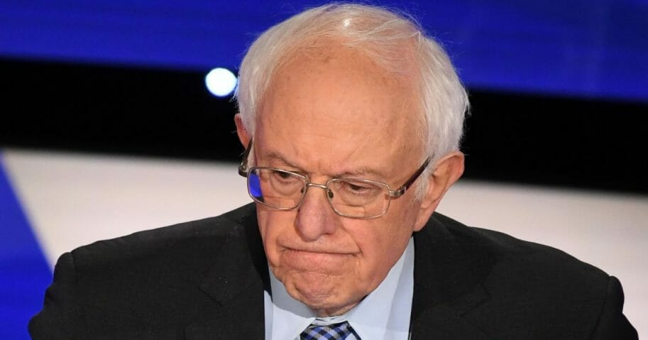 Democratic presidential candidate Sen. Bernie Sanders of Vermont scowls during a Democratic primary debate at the Drake University campus in Des Moines, Iowa, on Jan. 14, 2020