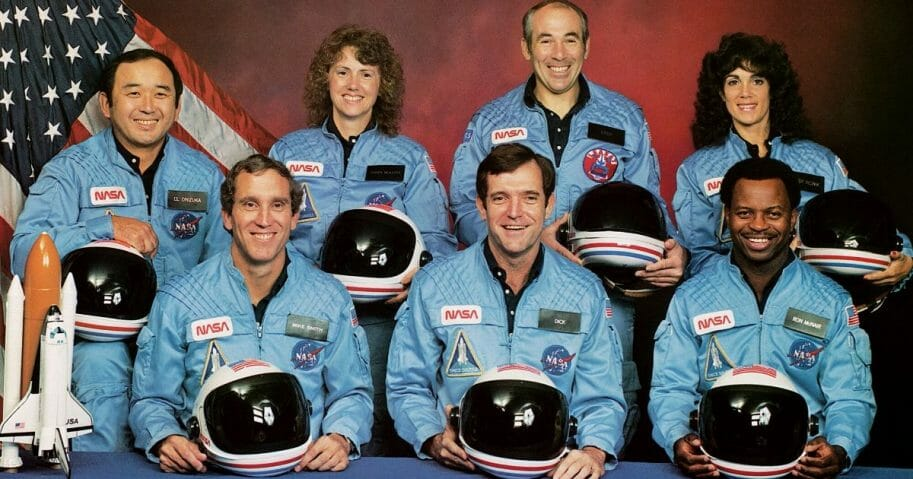 In this circa 1985 photo, the crew of the disastrous Challenger space shuttle disaster is seen: (back row, left to right) Ellison S Onizuka, Sharon Christa McAuliffe, Gregory B Jarvis, Judith A Resnik, (front row, left to right) Michael J Smith, Francis R Scobee and Ronald E McNair. All seven were killed when the Challenger shuttle exploded during take-off on Jan. 28, 1986.