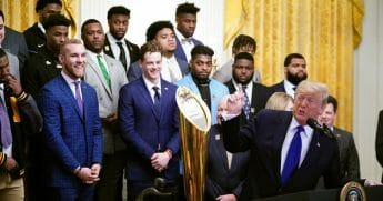 President Donald Trump takes part in an event honoring the 2019 college football national champions, the Louisiana State University Tigers, in the East Room of the White House in Washington, D.C., on Jan. 17, 2020.