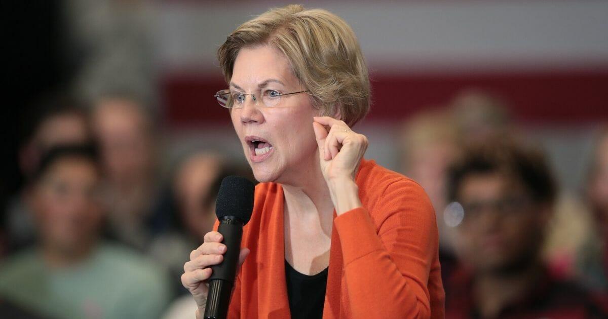 Democratic presidential candidate, Sen. Elizabeth Warren (D-Massachusetts) speaks at a campaign stop at Fisher Elementary School on Jan. 12, 2020, in Marshalltown, Iowa.