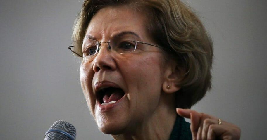 Democratic presidential candidate Sen. Elizabeth Warren of Massachusetts speaks during a town hall at Weeks Middle School in Des Moines, Iowa, on Jan. 19, 2020.