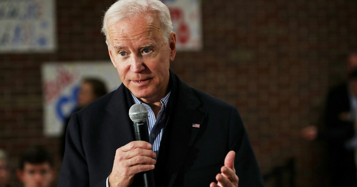 Democratic presidential candidate former Vice President Joe Biden speaks during a campaign stop at Tipton High School on Dec. 28, 2019, in Tipton, Iowa.