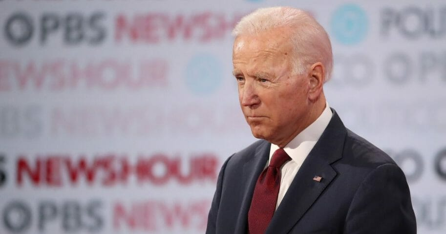 Former Vice President Joe Biden listens during the Democratic presidential primary debate at Loyola Marymount University on Dec. 19, 2019, in Los Angeles, California.