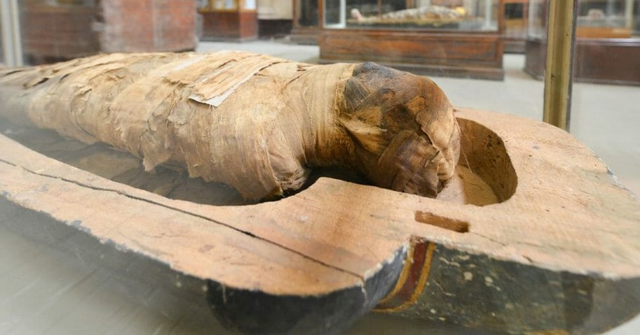 A mummy is seen in the Egyptian Museum in Cairo