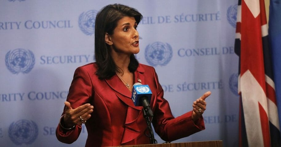 Then-United Nations Ambassador Nikki Haley speaks to the media on Sept. 20, 2018, in New York City.
