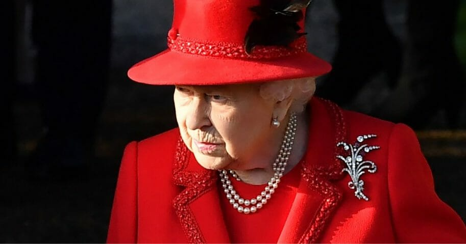 Britain's Queen Elizabeth II leaves after the Royal Family's traditional Christmas Day service at St. Mary Magdalene Church in Sandringham, Norfolk, eastern England, on Dec. 25, 2019.