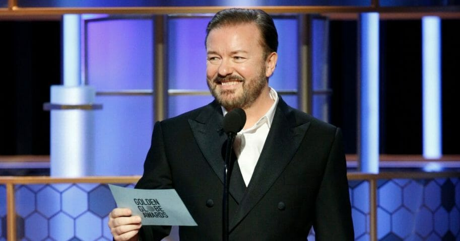 Ricky Gervais speaks onstage during the Golden Globe Awards at the Beverly Hilton Hotel in Beverly Hills, California, on Jan. 5, 2020.