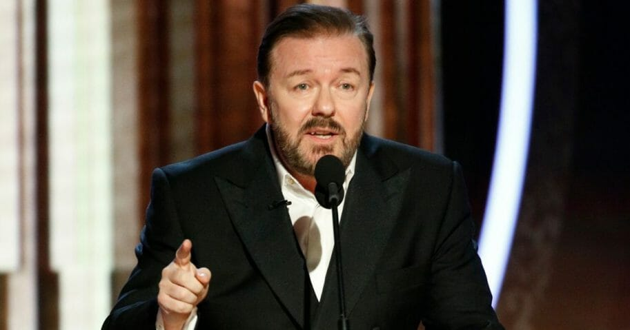 Host Ricky Gervais speaks onstage during the Golden Globe Awards at the Beverly Hilton Hotel in Beverly Hills, California, on Jan. 5, 2020.
