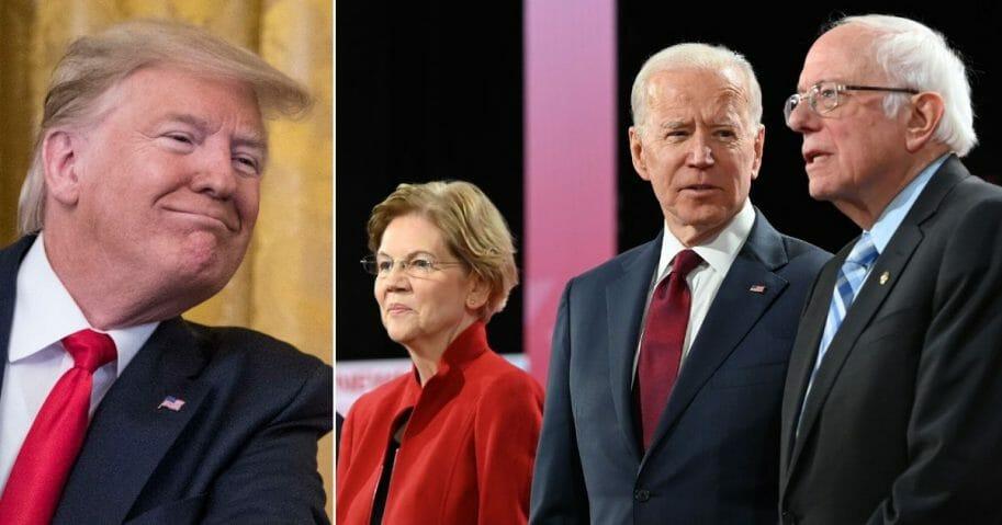 President Donald Trump, far left, and Democratic presidential candidates, from left, Sen. Elizabeth Warren of Massachusetts, former Vice President Joe Biden and Sen. Bernie Sanders of Vermont.