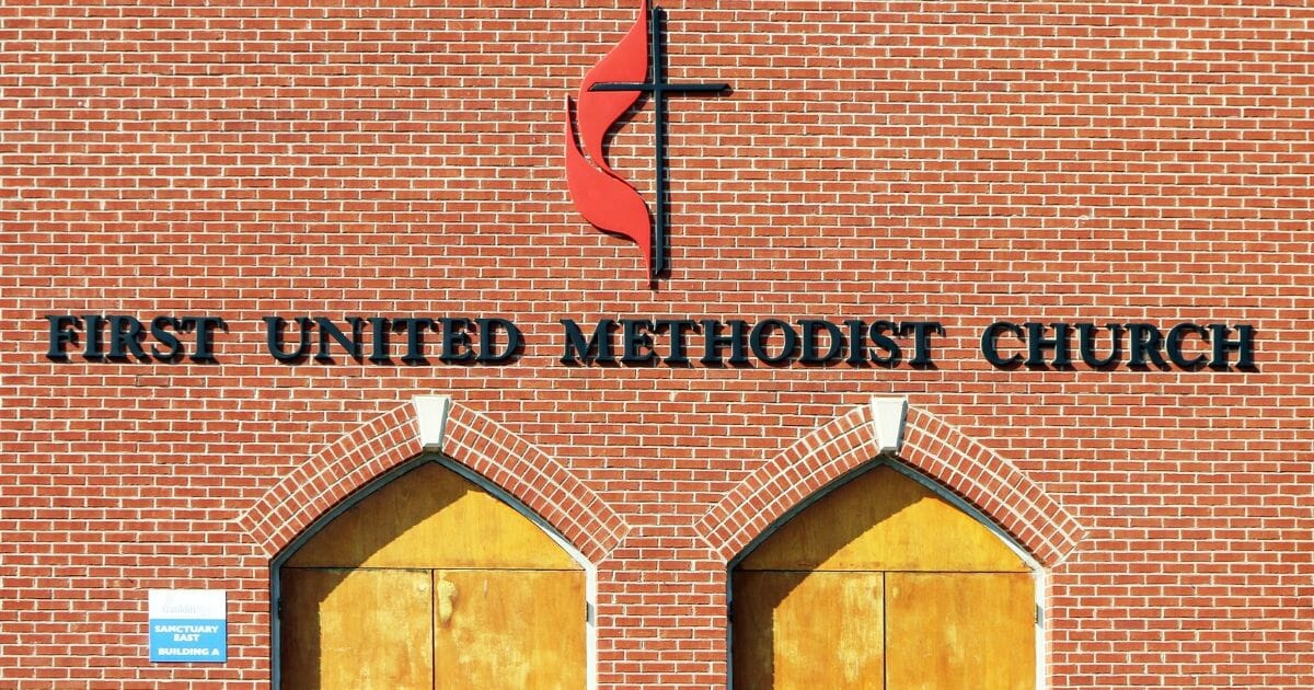 The entrance to the First United Methodist Church in Franklin, Tennessee.