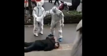A man who reportedly collapsed in Wuhan, China, seemingly from the coronavirus outbreak.