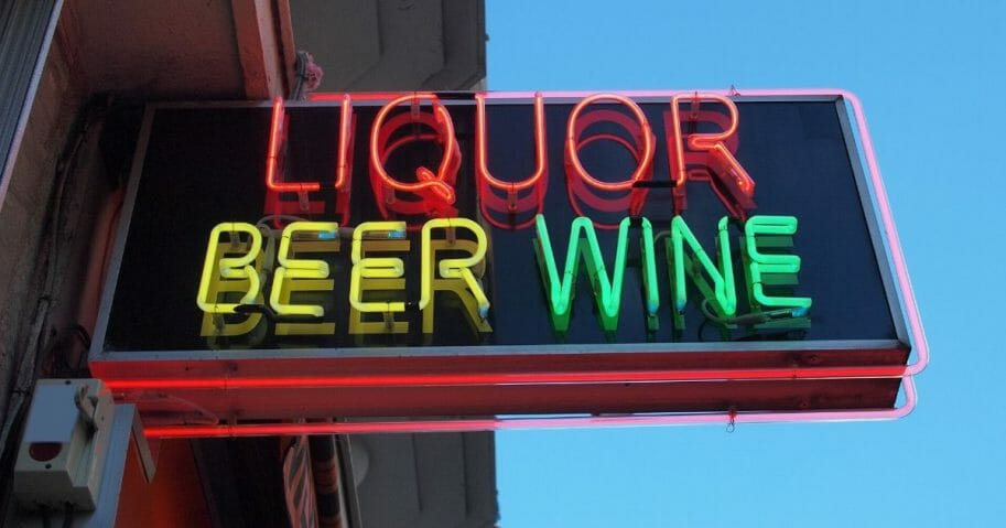 A stock image of a liquor store sign is pictured above.