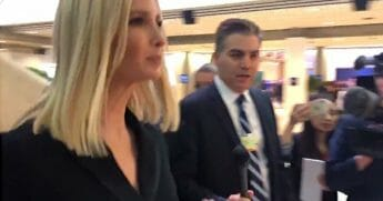 Ivanka Trump and Jim Acosta at a Davos, Switzerland forum.