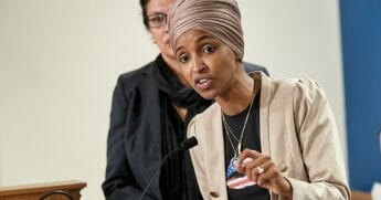 Rep. Ilhan Omar pictured in a file photo speaking during an August news conference.
