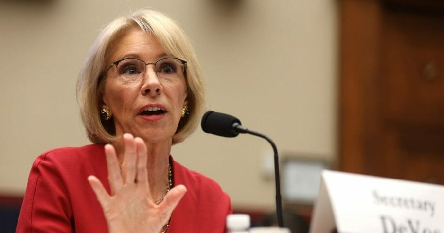 Secretary of Education Betsy DeVos testifies during a hearing before the House Education and Labor Committee on Dec. 12, 2019, on Capitol Hill in Washington, D.C.