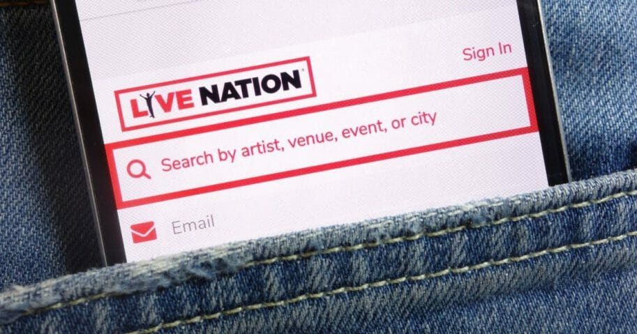 Stock image of the Live Nation Entertainment website on a mobile device.