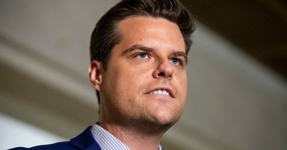 Republican Rep. Matt Gaetz of Florida speaks to the media outside of the Sensitive Compartmented Information Facility during the continued House impeachment inquiry against President Donald Trump at the U.S. Capitol on Oct. 30, 2019, in Washington, D.C.