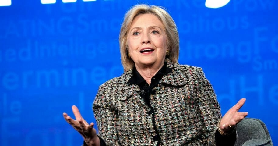 Hillary Clinton speaks onstage during the Television Critics Association winter press tour on Friday in Pasadena, California.