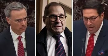 From left: White House counsel Pat Cipollone, left; Rep. Jerrold Nadler; and Jay Sekulow, a member of President Donald Trump's legal team.