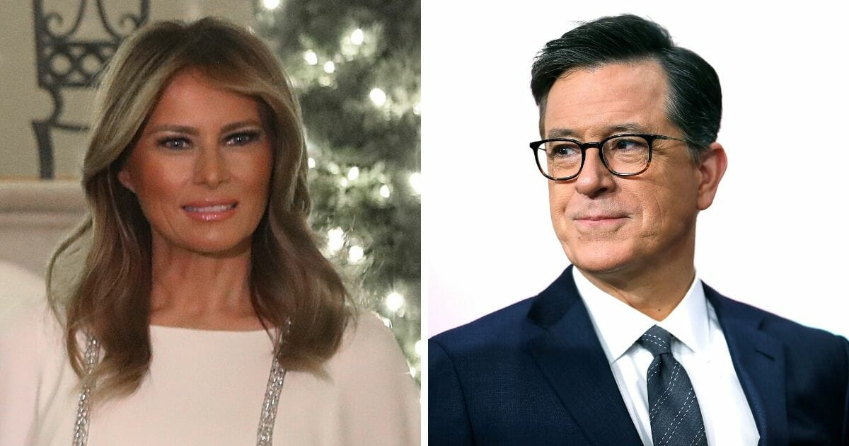 First lady Melania Trump, left; and Stephen Colbert, right.