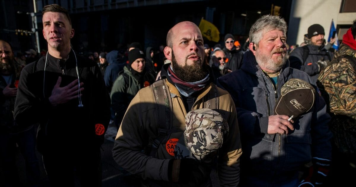 Gun-rights advocates attend a rally organized by the Virginia Citizens Defense League on Capitol Square near the state capitol building on Jan. 20, 2020, in Richmond, Virginia.