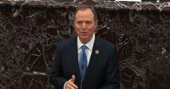 U.S. Rep. Adam Schiff speaks during Thursday's impeachment trial of President Donald Trump in the Senate