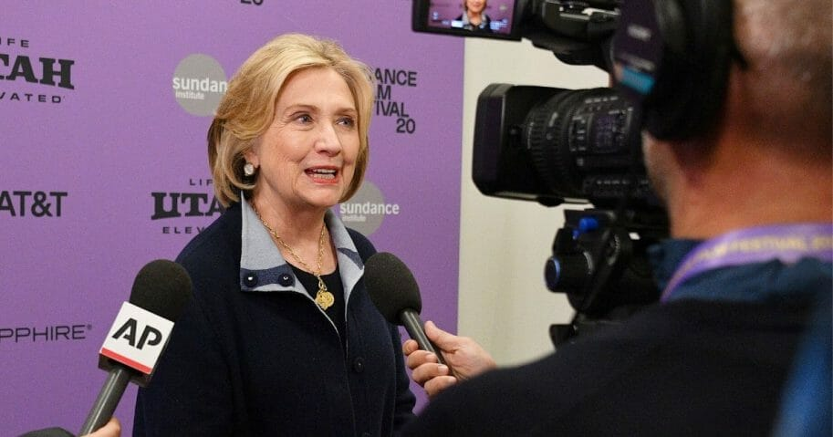 Clinton is interviewed by the media Saturday while attending the premiere of a documentary about her life at the Sundance Film Festival in Park City, Utah.