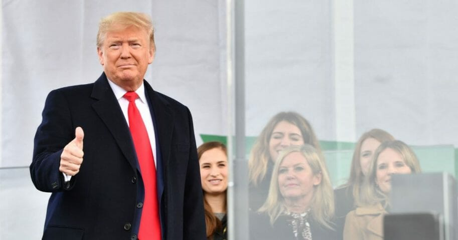 President Donald Trump arrives to speak at the 47th annual March for Life in Washington, D.C., on Jan. 24, 2020.