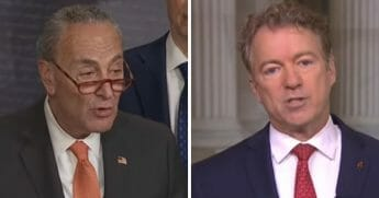 Senate Minority Leader Chuck Schumer, left; and Kentucky Republican Sen. Rand Paul, right.
