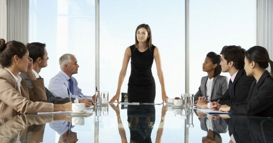 Stock image of a company board meeting.