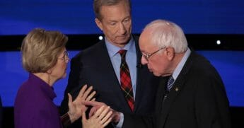 Following the Democratic presidential primary debate on Jan. 14, Massachusetts Sen. Elizabeth Warren, left, appeared to refuse to shake hands with Sen. Bernie Sanders of Vermont, right.