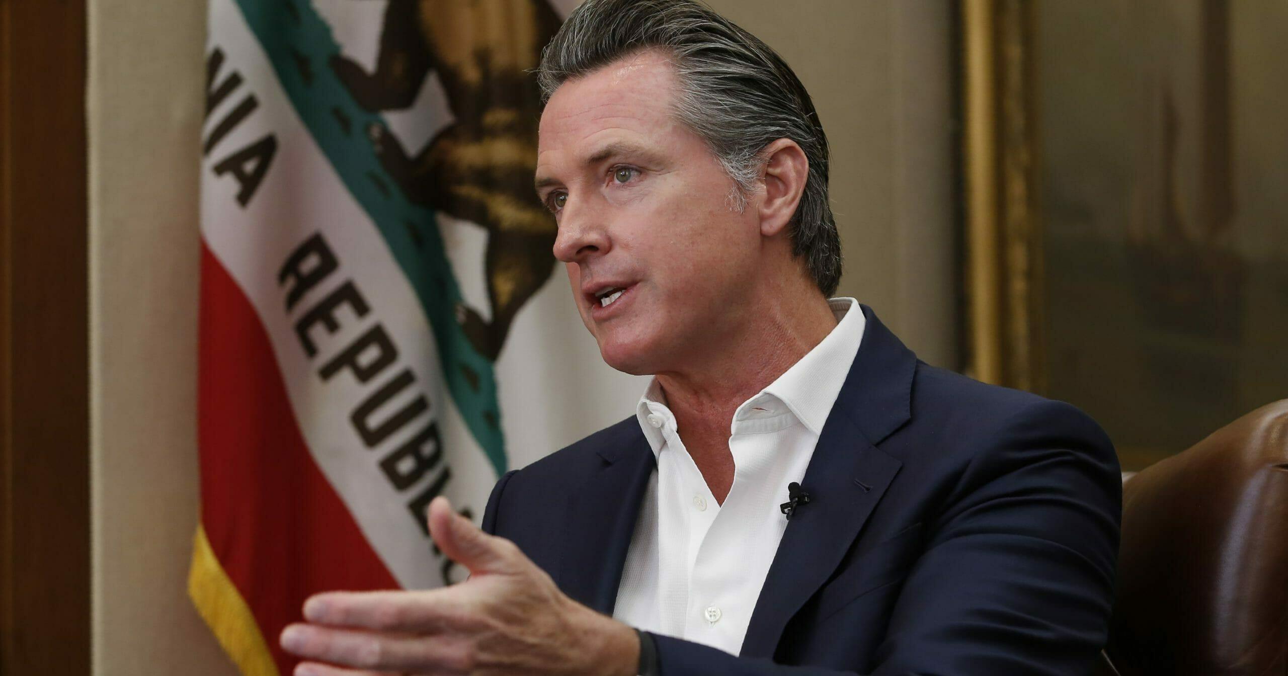 California Gov. Gavin Newsom speaks during an interview Oct. 8, 2019, in Sacramento.