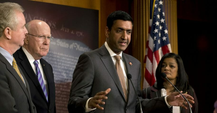 Democratic Rep. Ro Khanna of California, accompanied by Sen. Chris Van Hollen of Maryland, Sen. Patrick Leahy of Vermont and Rep. Pramila Jayapal of Washington, speaks during a news conference on a measure limiting President Donald Trump's ability to take military action against Iran on Capitol Hill in Washington on Jan. 9, 2020.