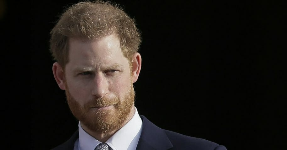 Britain's Prince Harry arrives in the gardens of Buckingham Palace in London on Jan. 16, 2020.