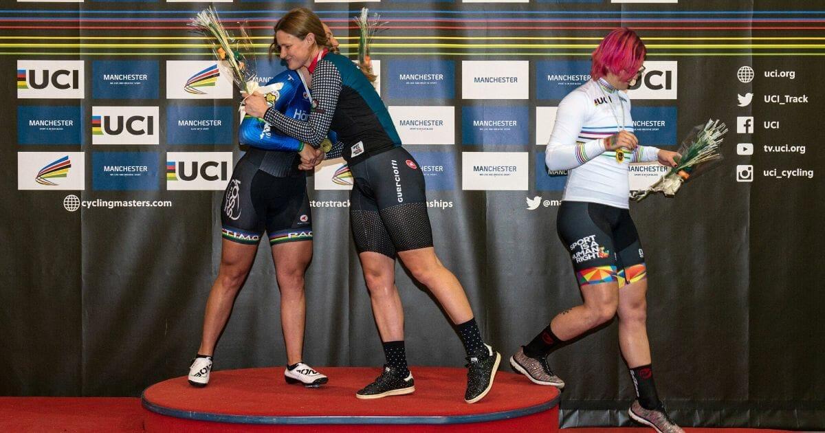 Canadian transgender cyclist Rachel McKinnon leaves the podium