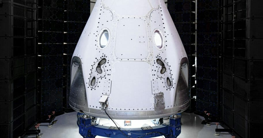 This undated photo made available by SpaceX in February 2020 shows the Crew Dragon spacecraft undergoing acoustic testing in Florida. On Feb. 18, 2020, SpaceX announced it is working with Space Adventures Inc. to take tourists into a high orbit. Ticket prices aren't being divulged but are likely to be in the millions of dollars.
