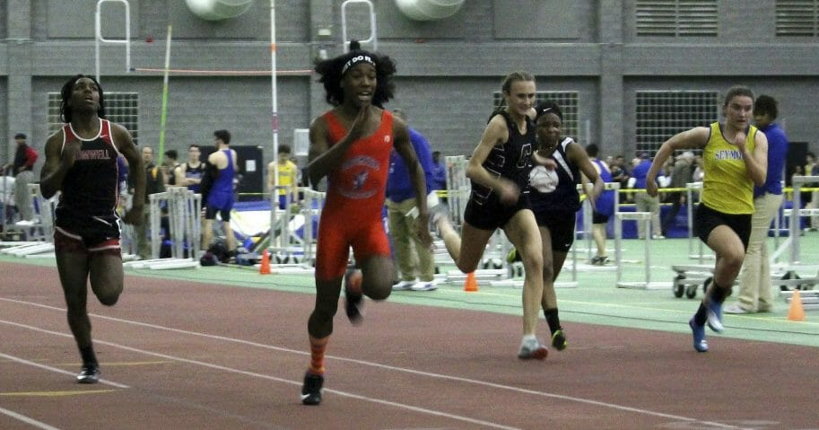 Bloomfield High School transgender athlete Terry Miller, second from left, wins the final of the 55-meter dash over transgender athlete Andraya Yearwood, far left, and female runners in the Connecticut girls Class S indoor track meet at Hillhouse High School in New Haven on Feb. 7, 2019.