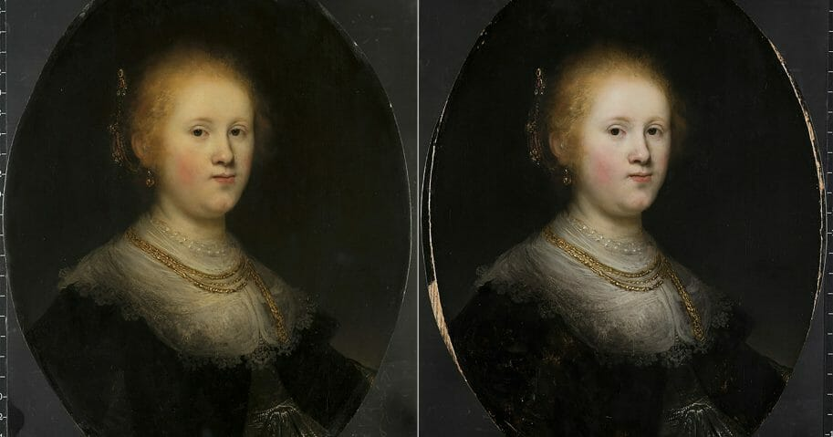"""This photo combo provided by Allentown Art Museum shows from left, before and after restoration of a painting called """"Portrait of a Young Woman."""""""