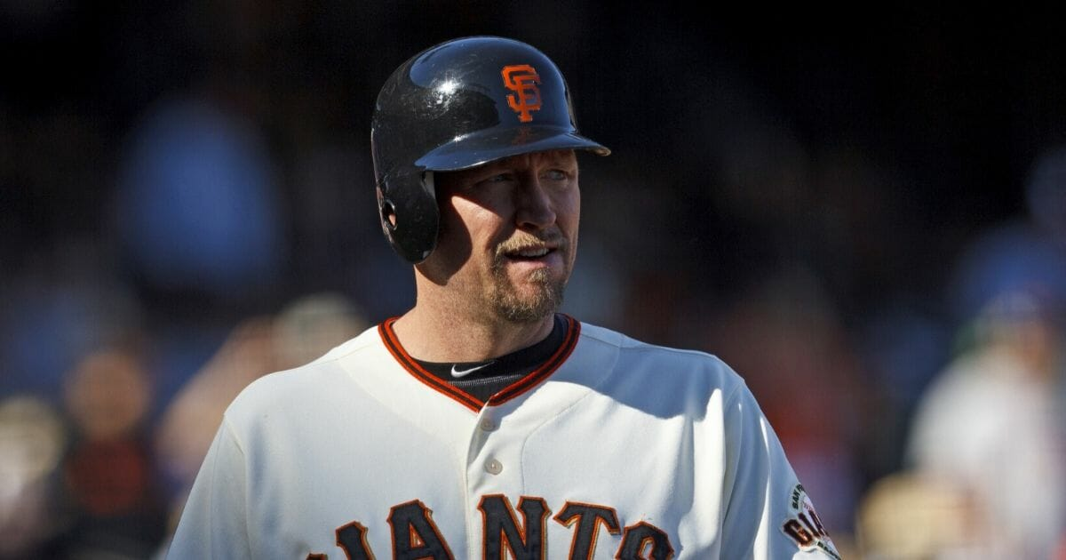 Aubrey Huff #17 of the San Francisco Giants at bat against the San Diego Padres during the ninth inning at AT&T Park on Sept. 23, 2012, in San Francisco, California.