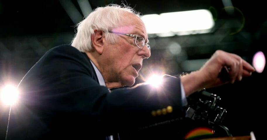 Democratic presidential candidate Sen. Bernie Sanders (I-Vermont) speaks on stage during a primary night event on Feb. 11, 2020, in Manchester, New Hampshire.