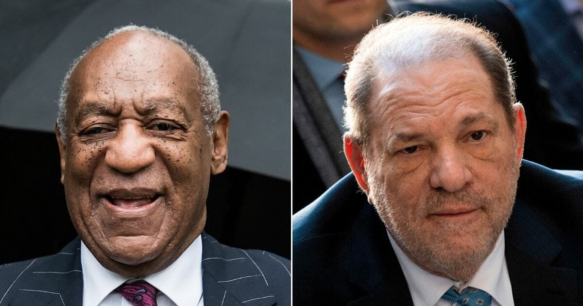 """A spokesman for Bill Cosby, left, on Monday labeled the conviction of Hollywood producer Harvey Weinstein on sexual assault charges a """"very sad day"""" for the judicial system."""
