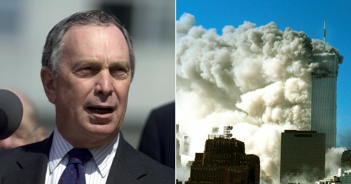 Left: Mike Bloomberg, then mayor of New York, gives a speech March 29, 2002. Right: Smoke pours out of the World Trade Center after the twin towers were struck by two planes during a terorist attack Sept. 11, 2001.