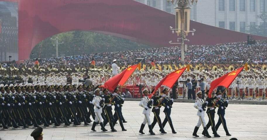 People's Liberation Army soldiers march in Beijing's Tiananmen Square on Oct. 1, 2019, to mark the 70th anniversary of the founding of the People's Republic of China