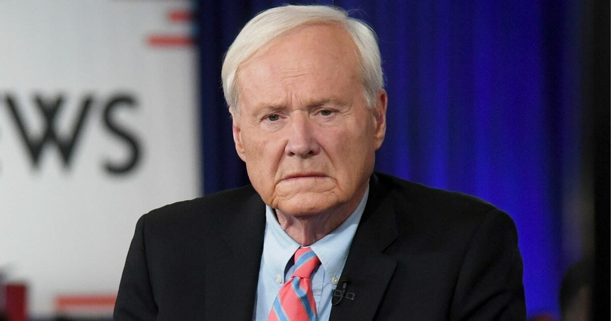 Chris Matthews of MSNBC waits to go on the air inside the spin room at Bally's Hotel & Casino in Las Vegas after the Democratic presidential primary debate on Feb. 19, 2020.