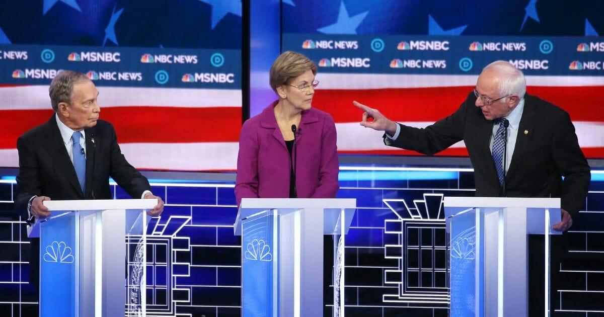 Mike Bloomberg, Elizabeth Warren and Bernie Sanders